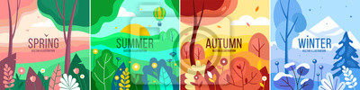 Sticker Vector set of seasons illustrations. Spring, summer, autumn, winter - landscapes in a flat style.