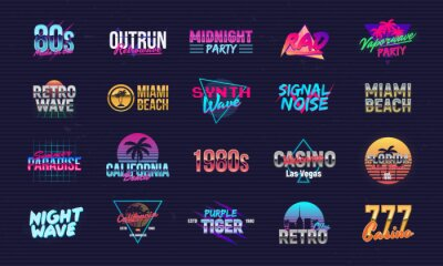 Sticker Vector set of signs and logos in Retrowave style. Retro 80's logos set for Night club, music album, party invitation designs. Print for t-shirt, tee. 20 colorful neon logo designs.