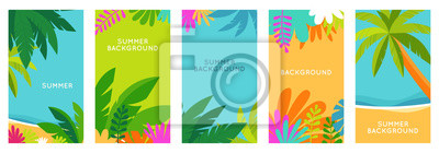 Sticker Vector set of social media stories design templates, backgrounds with copy space for text - summer landscape