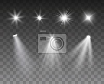 Sticker Vector set of spotlight and light burst effects isolated on dark background