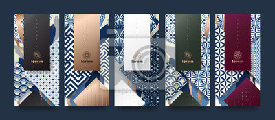 Sticker Vector set packaging templates japanese of nature luxury or premium products.logo design with trendy linear style.voucher, flyer, brochure.Menu book cover japan style vector illustration.
