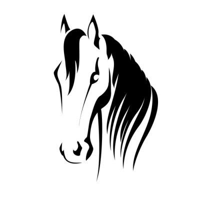 Sticker Vector silhouette d'une tête de cheval