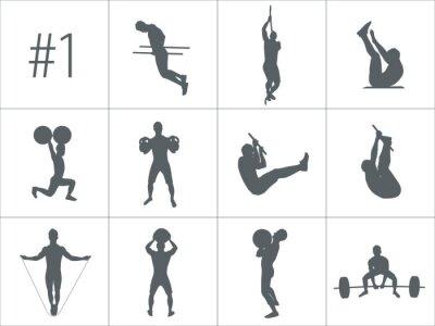 Sticker Vector silhouettes de personnes faisant des exercices de fitness et de crossfit