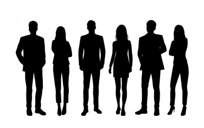 Sticker Vector silhouettes of  men and a women, a group of standing  business people, black color isolated on white background