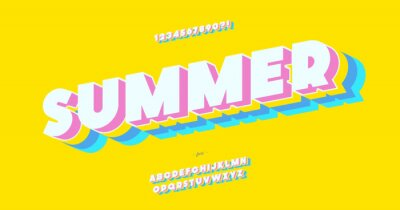 Sticker Vector summer font 3d bold color style modern typography for decoration, logo, poster, t shirt, book, card, sale banner, printing on fabric, industrial. Cool typeface. Trendy fun alphabet. 10 eps