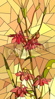 Sticker Vector vertical mosaic with large cells of columbine flowers on yellow.
