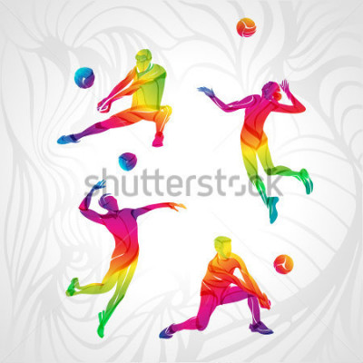 Sticker Vector volleyball silhouettes rainbow collection