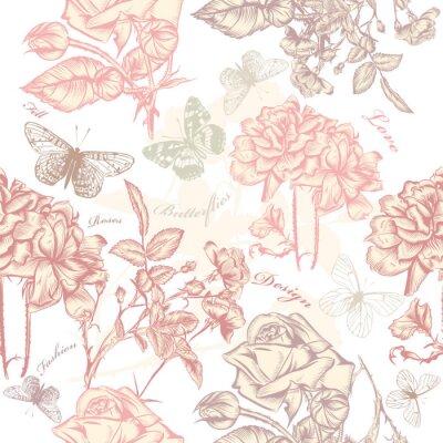 Sticker Vector wallpaper seamless avec des roses