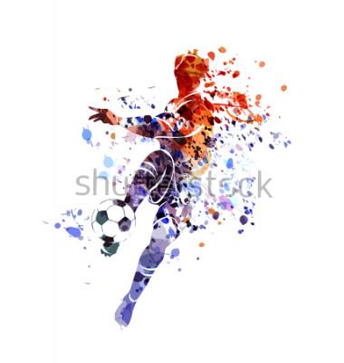 Sticker Vector watercolor silhouette soccer player