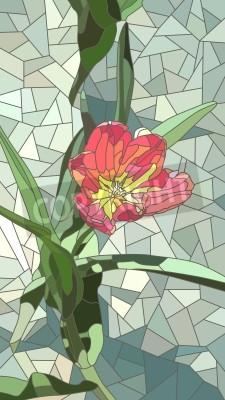 Sticker Vectoriel mosaïque verticale avec de grandes cellules de tulipes rouges fleurs sur le vert.