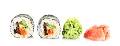 Sticker Végétarien sushi rouleaux isolé sur blanc