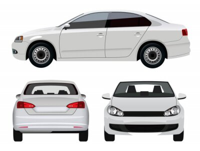 Sticker Véhicule Blanc - Sedan voiture à partir de trois angles