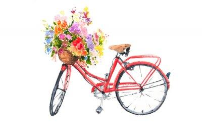 Sticker Vélo rétro rouge avec des fleurs colorées dans le panier, illustrateur d'aquarelle, art de vélo, peut être utilisé pour décorer la maison