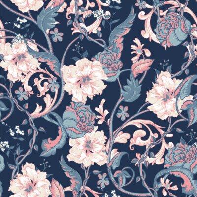Sticker Vendange, seamless, modèle, fleurir, magnolias, roses, brindille