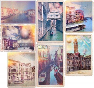Sticker Venise - cartes postales anciennes façonné collage