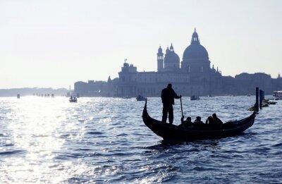 Sticker Venise, Grand Canal avec gondole et l'église de Santa Maria della Salute