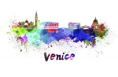 Sticker Venise horizon à l'aquarelle