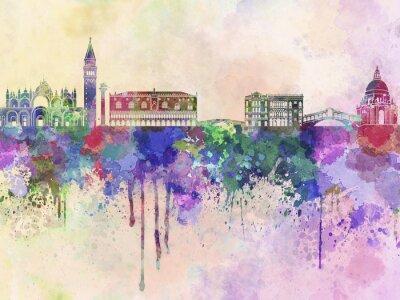Sticker Venise horizon dans le fond d'aquarelle