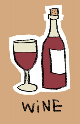 Verre, bouteille, rouge, vin, brun, fond
