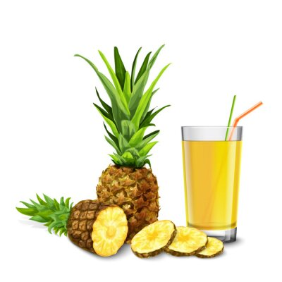 Sticker verre de jus d'ananas