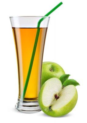 Sticker Verre de jus de pomme avec des fruits isolé sur blanc.