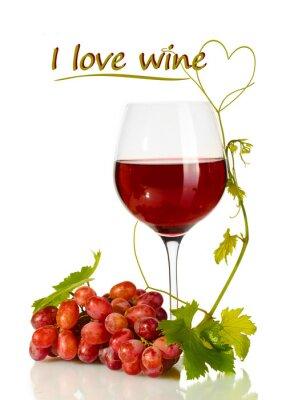 Sticker Verre de vin et raisins mûrs avec Je aime texte de vin isolé