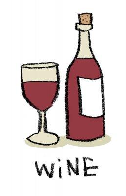Verre et bouteille de vin rouge