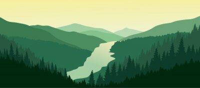 Sticker Vert paysage de montagne avec la rivière dans la vallée.