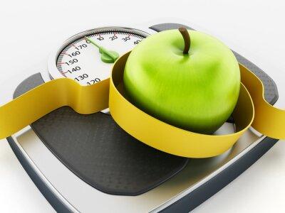 Sticker Vert pomme et un ruban à mesurer sur l'échelle de poids