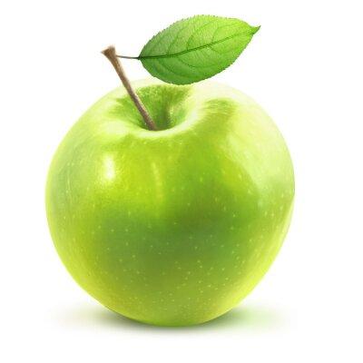Sticker Vert, pomme, leafe, isolé, Coupure, sentier