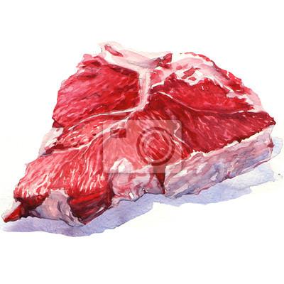 Viande de bœuf fraîche crue sur fond blanc