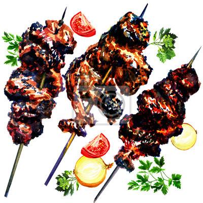 Viande et les légumes grillés, aquarelle