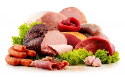 Sticker Viande, produits, y compris, jambon, saucisses, isolé, blanc