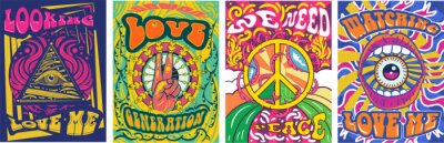 Sticker Vibrant colorful We Need Peace design in retro hippie style with peace symbol and text over abstract patterns, vector illustration