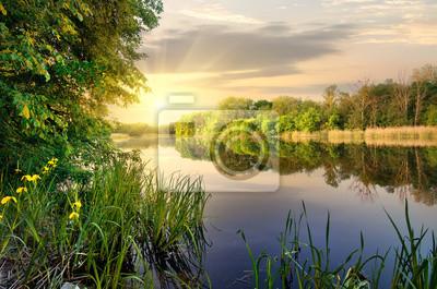 Vibrant coucher de soleil sur la rivière