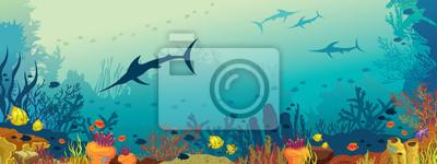 Sticker Vie marine sous-marine - récif corallien et marlin poisson.