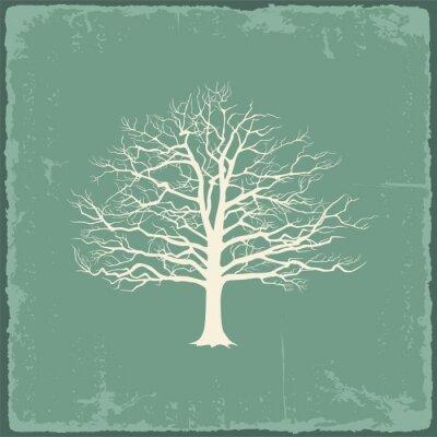 Sticker Vieil arbre nu sur le papier vintage. Vector illustration