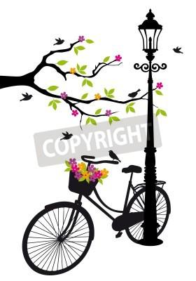 Sticker vieille bicyclette avec lampe, des fleurs et des arbres