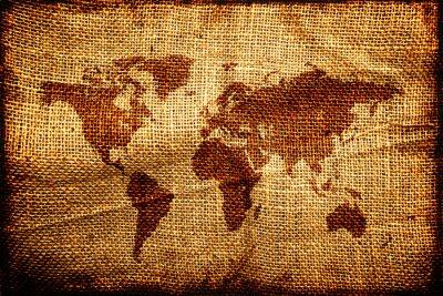 Sticker Vieille carte du monde sur hesian sac texture