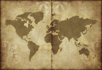 Sticker vieille carte papier parchemin monde