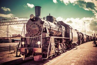 Sticker Vieille locomotive à vapeur, train vintage.