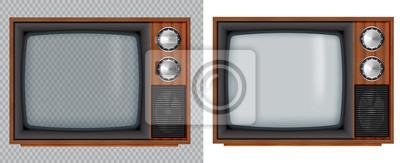 Sticker Vieille télévision en bois. Télévision rétro vecteur maquette avec écran en verre transparent isoler sur fond blanc et transparent.