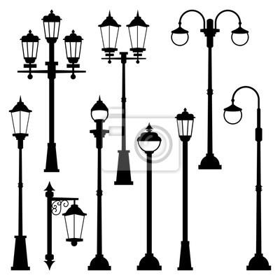Sticker Vieilles lampes de rue dans un style monochrome. Illustrations vectorielles isoler