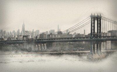 Sticker Vieilli, monochromatique, panorama, nouveau, York, ville
