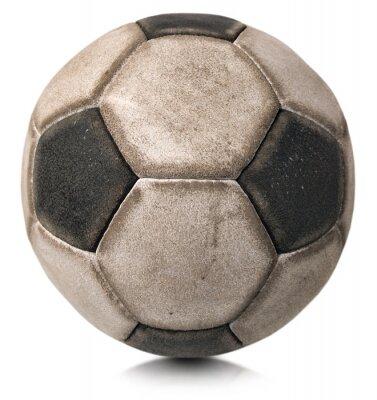 Sticker Vieux ballon de football isolé sur blanc / détail d'un vieux ballon de football noir et blanc isolé sur fond blanc