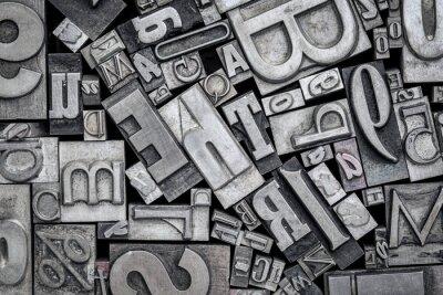 Sticker vieux blocs d'impression typographique en métal