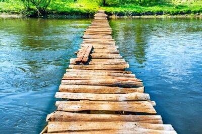 Sticker Vieux, bois, pont, par, rivière