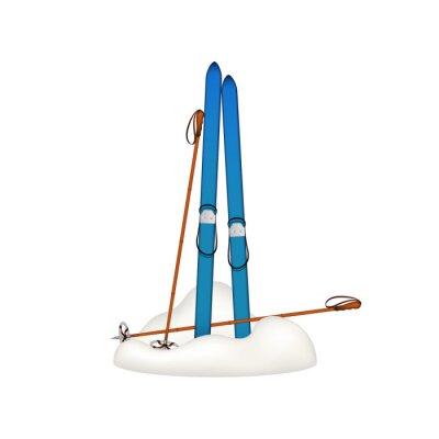 Sticker Vieux, bois, skis, vieux, ski, bâtons, debout, neige