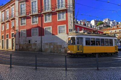 Sticker Vieux, Lisbonne, tram, ville, rue