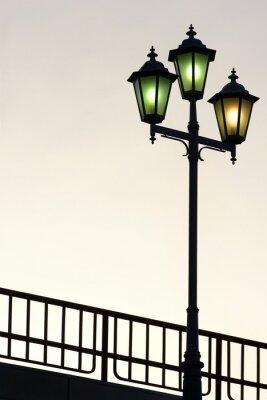 Sticker Vieux, rue, lampe, contre, crépuscule, fond
